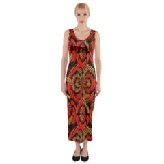 Red And Brown Pattern Fitted Maxi Dress by linceazul
