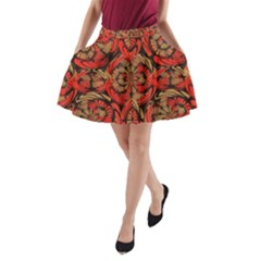 Red And Brown Pattern A Line Pocket Skirt by linceazul