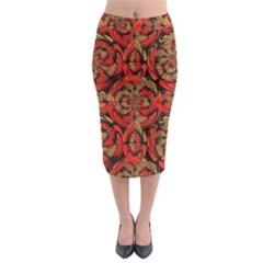 Red And Brown Pattern Midi Pencil Skirt by linceazul