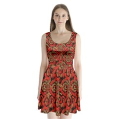 Red And Brown Pattern Split Back Mini Dress  by linceazul