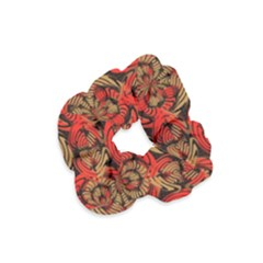 Red And Brown Pattern Velvet Scrunchie by linceazul