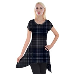 Plaid Design Short Sleeve Side Drop Tunic