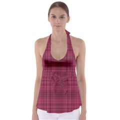 Plaid Design Babydoll Tankini Top
