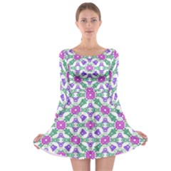 Multicolor Ornate Check Long Sleeve Skater Dress by dflcprints