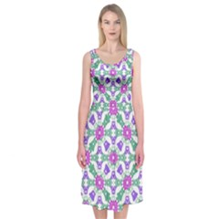 Multicolor Ornate Check Midi Sleeveless Dress by dflcprints