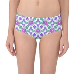 Multicolor Ornate Check Mid Waist Bikini Bottoms by dflcprintsclothing