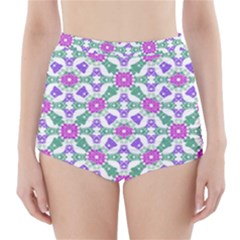 Multicolor Ornate Check High Waisted Bikini Bottoms by dflcprintsclothing