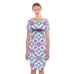 Multicolor Ornate Check Classic Short Sleeve Midi Dress by dflcprintsclothing