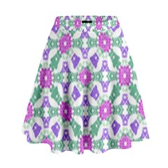 Multicolor Ornate Check High Waist Skirt by dflcprintsclothing