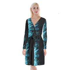 Fire Long Sleeve Velvet Front Wrap Dress