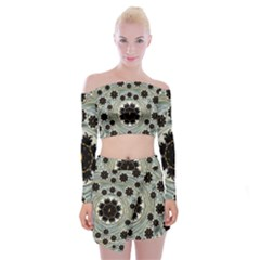 Wood In The Soft Fire Galaxy Pop Art Off Shoulder Top With Skirt Set by pepitasart
