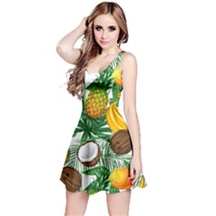 Green & White Hawaii Fruits Reversible Sleeveless Dress