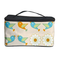 Birds And Daisies Cosmetic Storage Case by linceazul