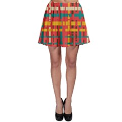 Colorful Line Segments Skater Skirt by linceazul