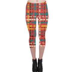 Colorful Line Segments Capri Leggings  by linceazul