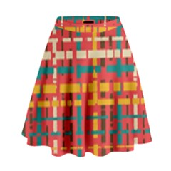 Colorful Line Segments High Waist Skirt by linceazul