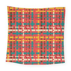 Colorful Line Segments Square Tapestry (large) by linceazul