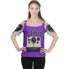 Say Cheese Women s Cutout Shoulder Tee