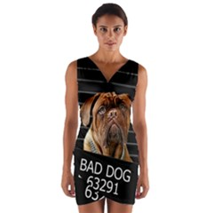 Bed Dog Wrap Front Bodycon Dress