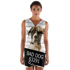 Bad Dog Wrap Front Bodycon Dress by Valentinaart