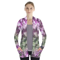 Purple Green Paint Texture    Women s Open Front Pockets Cardigan by LalyLauraFLM