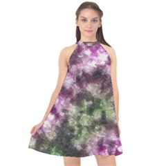Purple Green Paint Texture         Halter Neckline Chiffon Dress
