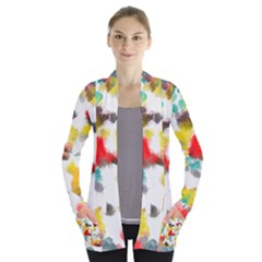 Colorful Paint Stokes     Women s Open Front Pockets Cardigan