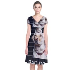 Bad Dog Short Sleeve Front Wrap Dress by Valentinaart