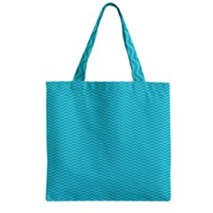 Blue Waves Pattern  Zipper Grocery Tote Bag