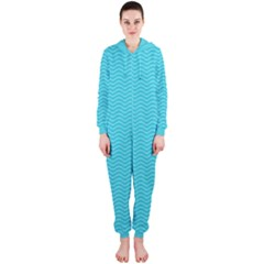 Blue Waves Pattern  Hooded Jumpsuit (ladies)