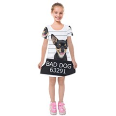 Bad Dog Kids  Short Sleeve Velvet Dress