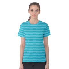 Abstract Blue Waves Pattern Women s Cotton Tee