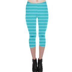 Abstract Blue Waves Pattern Capri Leggings