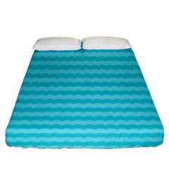 Abstract Blue Waves Pattern Fitted Sheet (king Size)