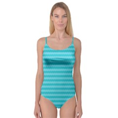 Abstract Blue Waves Pattern Camisole Leotard