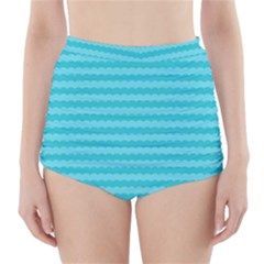 Abstract Blue Waves Pattern High Waisted Bikini Bottoms