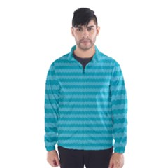 Abstract Blue Waves Pattern Wind Breaker (men)