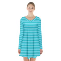Abstract Blue Waves Pattern Long Sleeve Velvet V Neck Dress