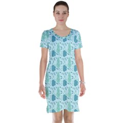 Flowers And Leaves Pattern Short Sleeve Nightdress