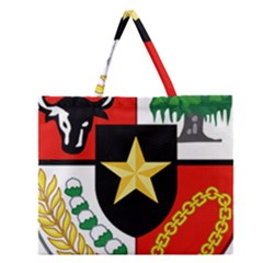 Shield Of National Emblem Of Indonesia  Zipper Large Tote Bag by abbeyz71