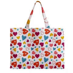 Colorful Bright Hearts Pattern Zipper Mini Tote Bag by TastefulDesigns