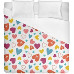 Colorful Bright Hearts Pattern Duvet Cover (king Size) by TastefulDesigns