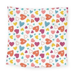 Colorful Bright Hearts Pattern Square Tapestry (large) by TastefulDesigns