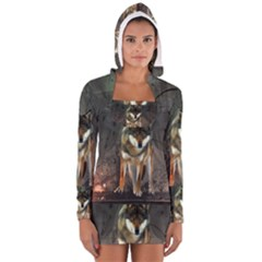 Awesome Wolf In The Night Women s Long Sleeve Hooded T Shirt by FantasyWorld7