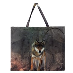 Awesome Wolf In The Night Zipper Large Tote Bag by FantasyWorld7
