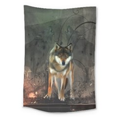 Awesome Wolf In The Night Large Tapestry by FantasyWorld7