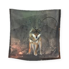 Awesome Wolf In The Night Square Tapestry (small) by FantasyWorld7