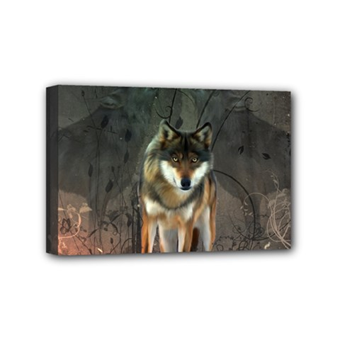 Awesome Wolf In The Night Mini Canvas 6  X 4  by FantasyWorld7