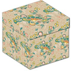 Hand Drawn Batik Floral Pattern Storage Stool 12   by TastefulDesigns