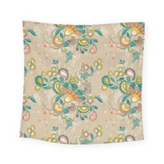 Hand Drawn Batik Floral Pattern Square Tapestry (small) by TastefulDesigns